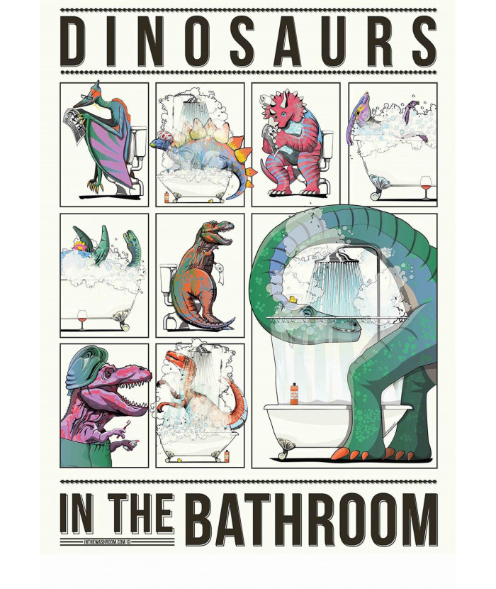 Dinosaurs in the bathroom