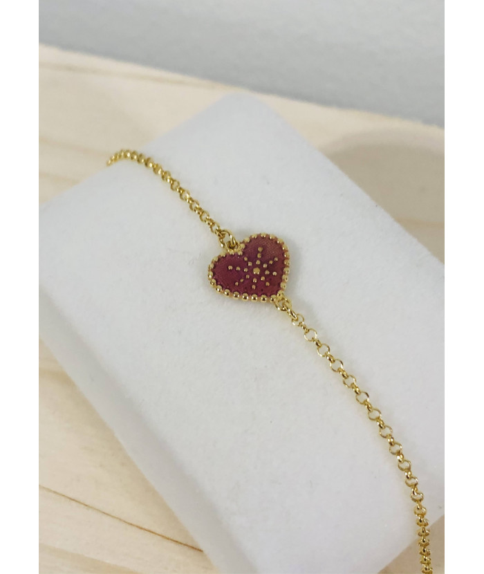 Bracelet or - coeur rose